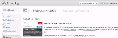 Post image for Thesis theme im Einsatz bei momblog